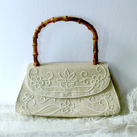 Vintage Oberon Purse Made in Paris France , Neutral Beaded Oberon Purse with Bamboo Handle , Spring Summer Linen Bag , Ladies French Handbag