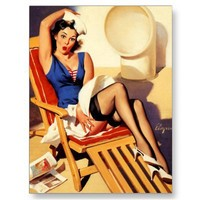 Vintage Gil Elvgren Cruise Ship Pinup Girl Postcards from Zazzle.com