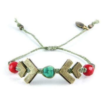 Brass Chevron and Turquoise Nugget Braided Bracelet in Cactus Flower