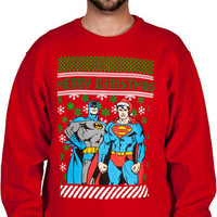 Batman Superman Christmas Sweater Faux