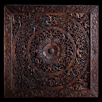 Hand Carved Wall Panel made from Teak Wood / Hanging Wall Art / Home Decor