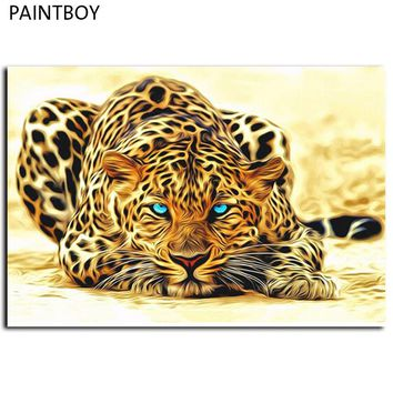 Framed Leopard Animals Pictures Painting By Numbers DIY Canvas Oil Painting Home Decoration For Living Room 40*50cm GX4175