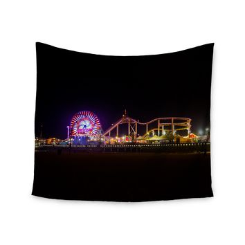 "Juan Paolo ""Santa Monica Pier"" Multicolor Black Wall Tapestry - Outlet Item"