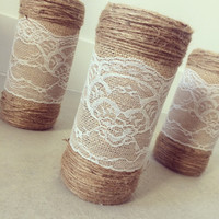 Recycled Wine Bottle Vase Wrapped In Twine And Lace