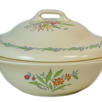 Serving Bowl and Lid with Fairfield Floral Decoration by Royal Doulton, Vintage English, circa 1950