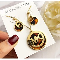 MK New Stylish Women Chic Stainless Steel Necklace Earrings Set Accessories Jewelry