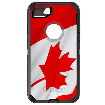 DistinctInk™ OtterBox Defender Series Case for Apple iPhone or Samsung Galaxy - Red White Canadian Flag Canada