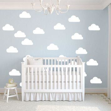 50Pcs set White Clouds Wall Stickers Removable DIY Vinyl Baby Wall Art Decal Mural For Kids Room Nursery Wallpaper D367