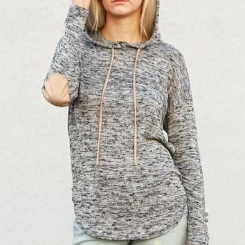 Long Sleeve Hoodie Elbow Patch