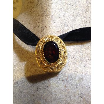Nemesis Vintage Handmade 925 Sterling Silver Gold Finish Genuine Garnet Antique Pendant Necklace