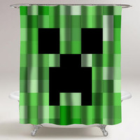 minecraft creeper custom shower curtain decorative shower curtain size 36x72,48x72,60x72,66x72