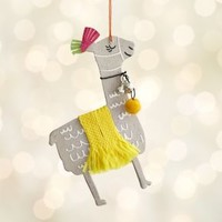 Paper Llama with Yellow Blanket Ornament