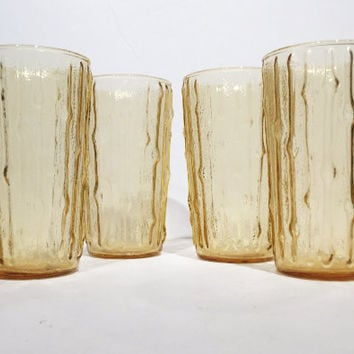 Yellow Glass Bamboo Tumblers, Anchor Hocking Bamboo Tumblers, Retro Drinking Glasses, Vintage 4 Bamboo Glasses Anchor Hocking Tahiti Gold