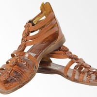 Women's Brown Flower Genuine Leather Sandals for Wedding Communion Birthday Party
