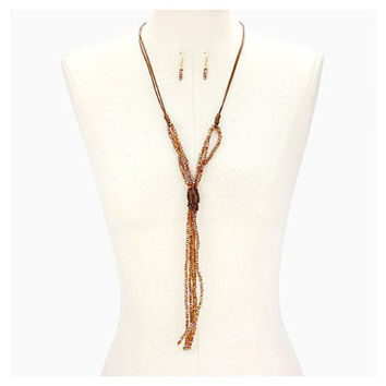 Boho Matte Gold & Brown Tied Glass Bead Strand Long Tassel Necklace