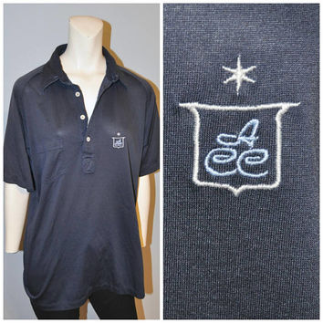"Men's Vintage ""ACC"" Polo Shirt Navy Blue Polyester Midcentury Short Sleeve Golf Shirt by Almorett Shiny Thin Size Large Retro Monogram Star"