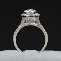 Crystal Zircon Engagement Flower Rings