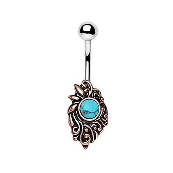 Copper Plated Medieval Style WildKlass Navel Ring with Turquoise
