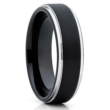 Black Tungsten Wedding Band - 6mm - Black Tungsten Ring - Black Ring