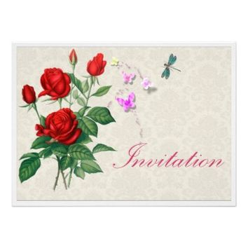 Vintage Style Wallpaper And Flowers Invites