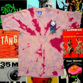Vintage 90s Beach Gear - Handmade Tie Dyed UMBRO BEACH VOLLEYBALL T-Shirt. Discharge Dyeing. Tie Dye. One of a Kind. ooak. M Medium