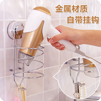 vanzlife family dailylife powerful suction stainless steel hair dryer holder bathroom non-smearing wall sucking hair dryer shelf
