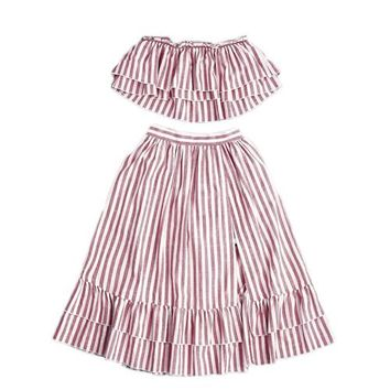 Crop Top and Skirt Set Strapless Striped Flyaway Bandeau Top and Ruffle Skort Set Summer Womens Two Piece Sets