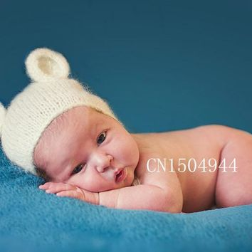 Handcraft Mohair fluffy crochet Teddy bear Bonnet Hat Beanie. Photography prop. Newborn Baby Photography Props