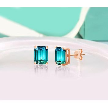 Unique In Style Trendy Earrings 5.00 Ctw Emerald Cut White and Blue Topaz Stud Earrings in 18K Rose Gold Plated