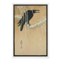 Japanese Vintage Art Image of Black Crow in Snow