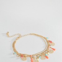New Look Bead And Coin Detail Anklet
