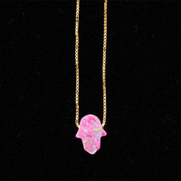 Lucky Pink Opal Hamsa Hand Gold Necklace