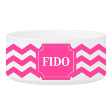 Personalize a Colorful Classic Small Dog Bowls - Cheerful Chevron