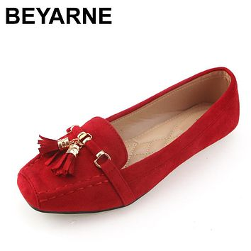 Square toe fashion suede red black & gray womens loafers