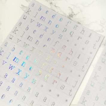 Holographic Letters Stickers - Holographic Alplabet Stickers - Iridescent Letters Stickers - Iridescent Stationery