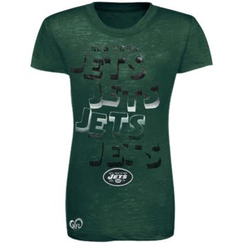 New York Jets Youth Girls Four Cheers Burnout T-Shirt - Green - http://www.shareasale.com/m-pr.cfm?merchantID=7124&userID=1042934&productID=555871725 / New York Jets