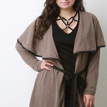 Leather Trim Belted Capelet Cardigan