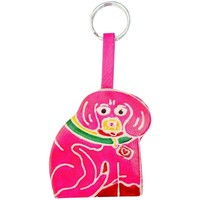 Soft and Colorful Embossed Genuine Leather Keychain - Dog