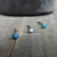 "Tiny Opal Nose Ring Screw 18g Bone Stud Tragus Piercing Blue 1/4"" Gem 2mm White Green Opals Earring Top Dainty Body Jewelry Stainless Small 