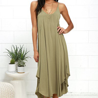 Black Swan Abba Olive Green Midi Dress
