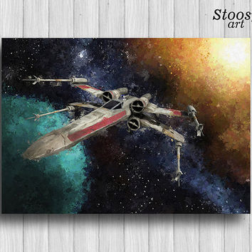 star wars art print r2d2 painting T-65 X-Wing Strarfighter poster spaceship
