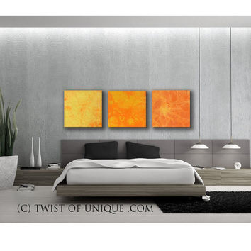 Southwest Sunrise painting/  Custom 3 set watercolor abstract ( 25 x 25) / Abstract sunrise watercolor painting / Orange, yellow