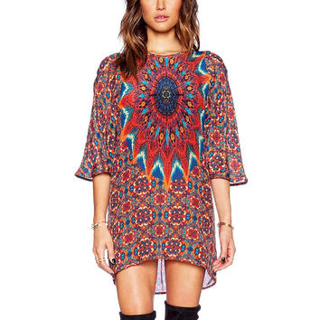 Totem Print Mini Dress With Half Sleeve