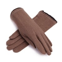 ZLYC Women's Luxurious Wool Faux Fur Lining Super Warm Knit Gloves with Hand Sewing Detail