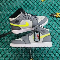 Air Jordan 1 Mid Grey Volt Sneakers - Best Online Sale