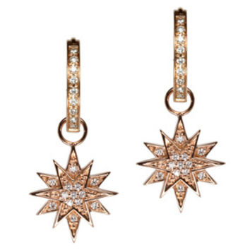 18K Rose Gold Diamond Starburst Earring Charms