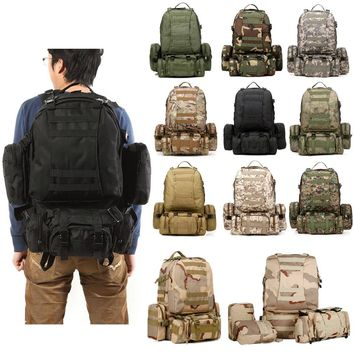 CAMTOA 50L Tactical Backpack Outdoor 50L 3D Molle Tactical Military Rucksack Backpack Trekking Bag Camping ACU