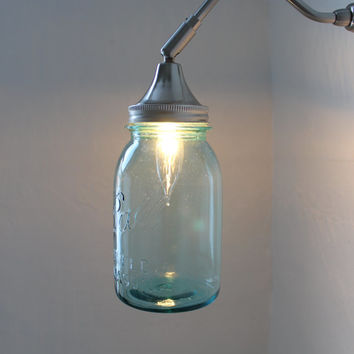 Sapphire Shine - Industrial Stainless Steel Gooseneck Wall Sconce - Quart Sized Ball Mason Jar Shade - UpCycled BootsNGus Lighting Fixture