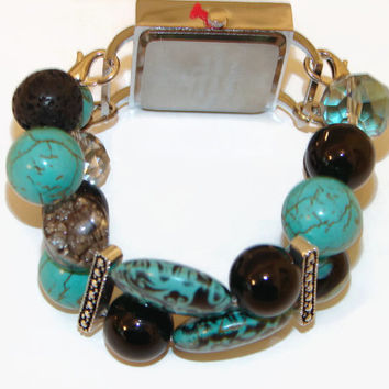 Aromatherapy Beaded Turquoise and Black Watch, Essential Oil Stretch Watch, Interchangeable Watch, Lava Beads, BeadsnTime, Unique Gift