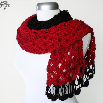 Crochet Solomons knot black crimson red two color scarf multicolor lace wrap shawl
